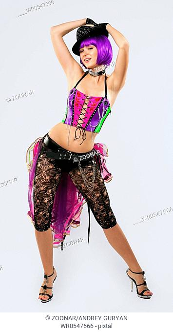 Disco Girl dance in color corset