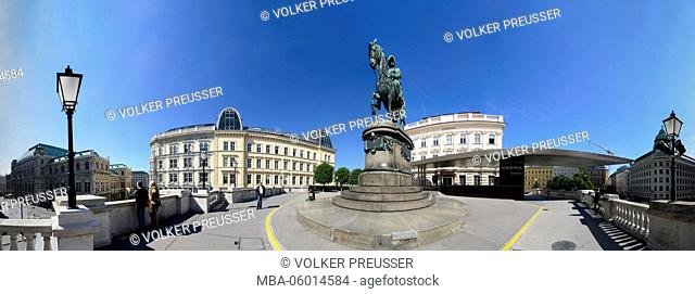 State opera, equestrian monument of archduke Albrecht and Albertina with Soravia-Wing, Austria, Vienna 01