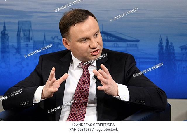 Polish President Andrzej Duda speaks at the 52nd Security Conference in Hotel Bayrischer Hof inMunich,Germany, 13 February 2016