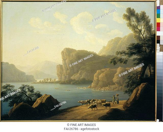 View of the Selenga River in Siberia. Martynov, Andrei Yefimovich (1768-1826). Oil on canvas. Classicism. 1817. Russia. State Tretyakov Gallery, Moscow