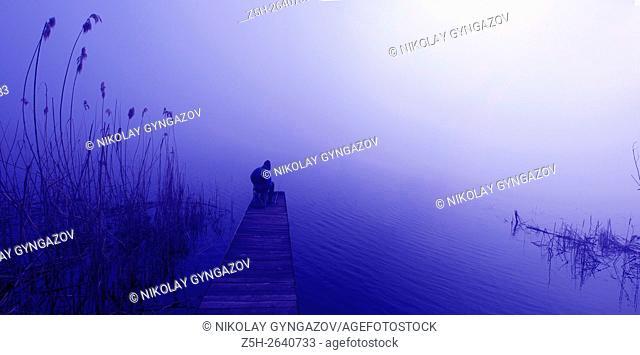 Russia. A man fishing