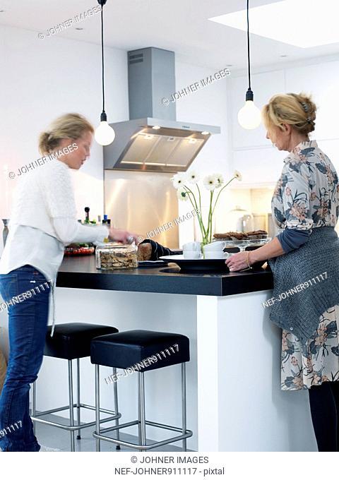 Women in a modern kitchen, Sweden