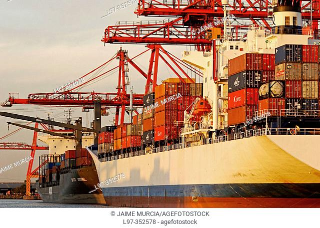 Container ship Port of Melbourne Australia