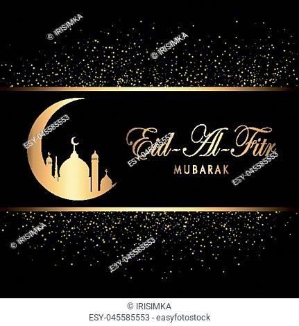 Eid Mubarak Design Background. Gold sparkling. Vector Illustration for greeting card, poster and banner