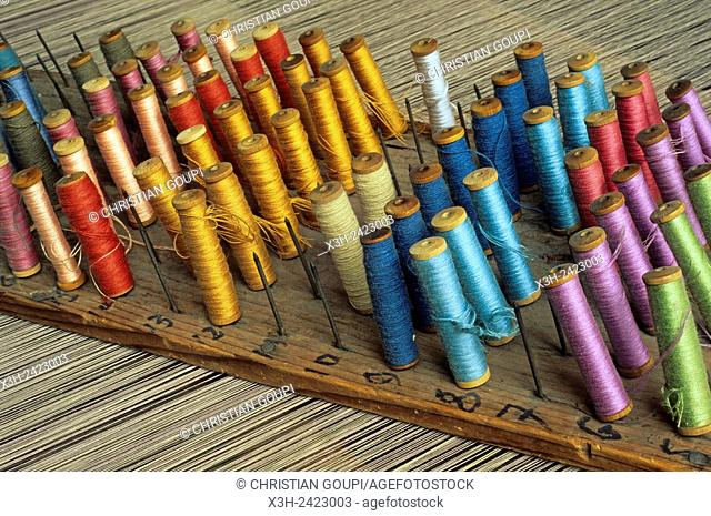 reels of thread, Textile factory ''La Filandiere'', Fresnoy-le-Grand, Aisne department, Picardy region, northern France, Europe