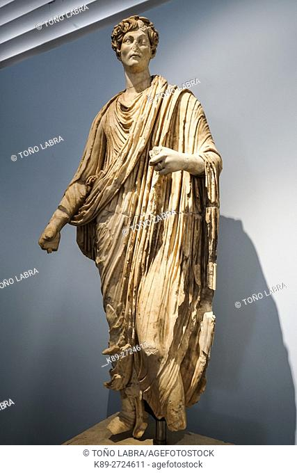 Young aristocrat with toga from Agora. Aphrodisias Museum. Ancient Classic Greece. Asia Minor. Turkey