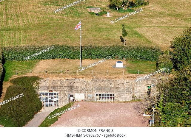 France, Calvados, Colleville Montgomery, Hillman fortified site, the coastal German command post, Regelbau 608 blockhouses with reinforced bell
