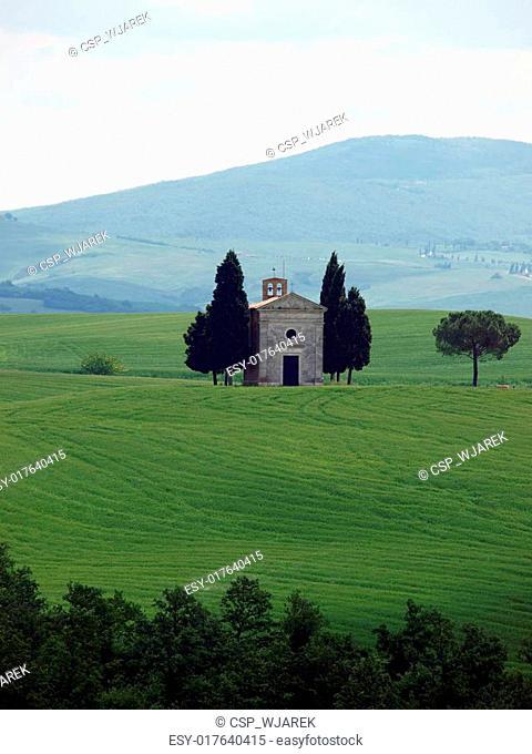 The lonely church Capella de Vitaleta near Pienza