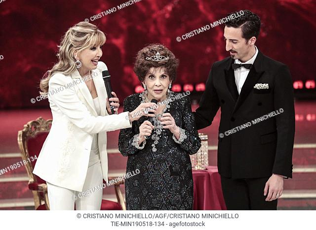 Tv presenter Milly Carlucci, Gina Lollobrigida, teacher training Samuel Peron, during the tv show Dancing with the stars, Rome, ITALY-19-05-2018