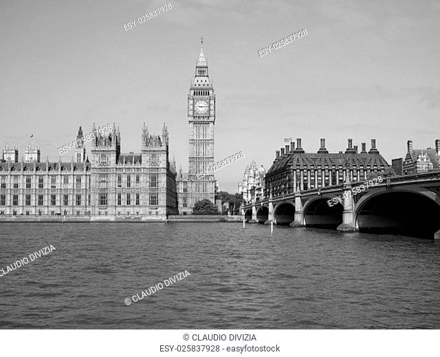 Houses of Parliament aka Westminster Palace in London, UK in black and white