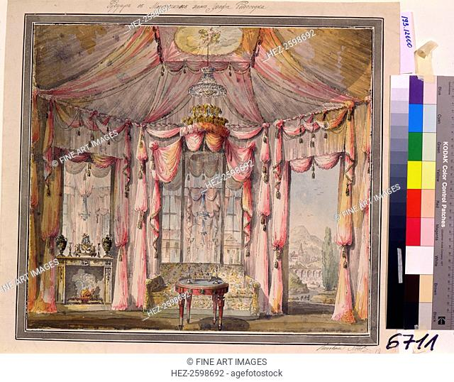 Interior design for the boudoir in the Count Bezborodko House in Moscow, 1790s. Found in the collection of the State A. Pushkin Museum of Fine Arts, Moscow