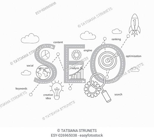 Concept of SEO word combined from modern thin line elements and icons which symbolized a success internet searching optimization process