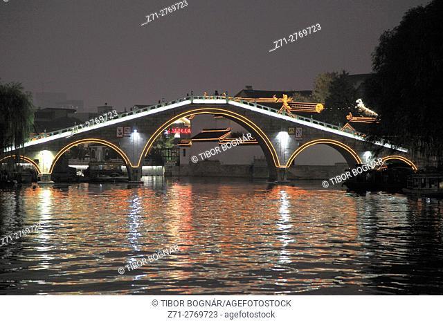 China, Jiangsu, Suzhou, Shantang Old Town, bridge, riverside scene, night,