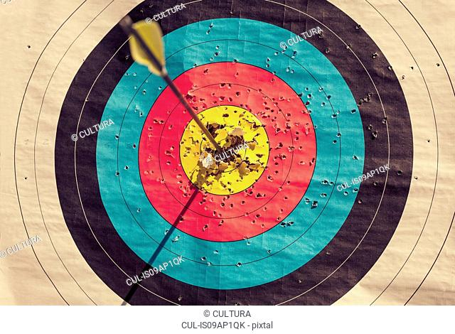 Archery target with arrow in the centre