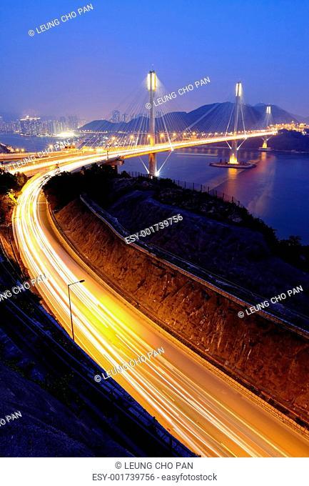highway and Ting Kau bridge at night