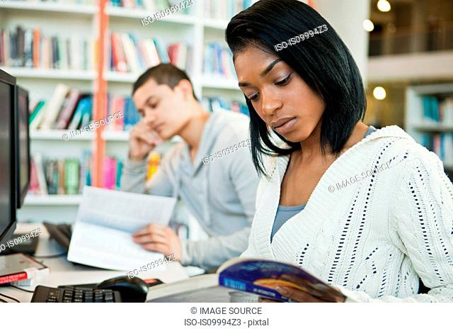 University students reading textbooks in college library