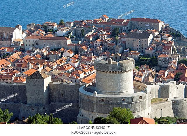 View of old town, Fort Minceta, Dubrovnik, Dalmatia, Croatia