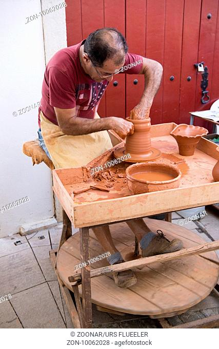 pottery art at the Saturday Market in the town of Loule in the Algarve in the south of Portugal in Europe