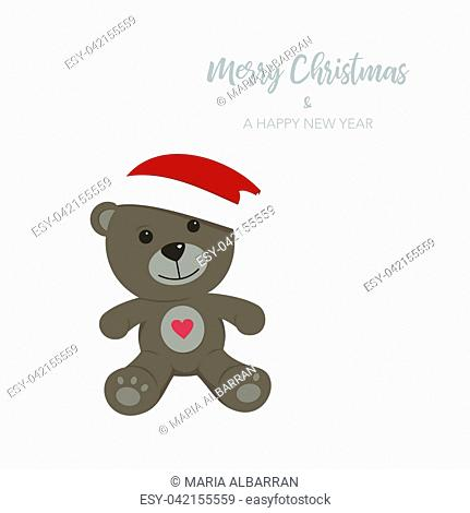 Christmas card with isolated teddy bear. Vector Illustration