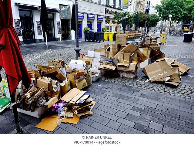 DEU , GERMANY : Recycling paper is waiting for collection in Bonn - Bonn, Northrhine-, Germany, 05/08/2014