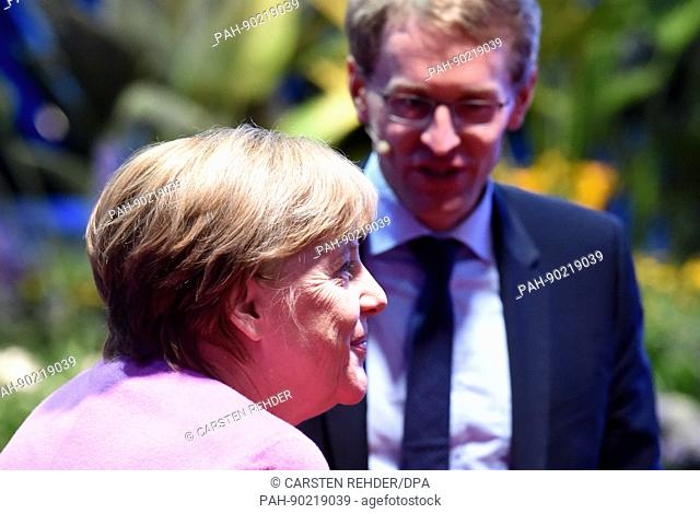 German chancellor Angela Merkel (CDU) with the party colleague Daniel Guenther, the CDU's top candidate in upcoming elections in the state of Schleswig-Holstein