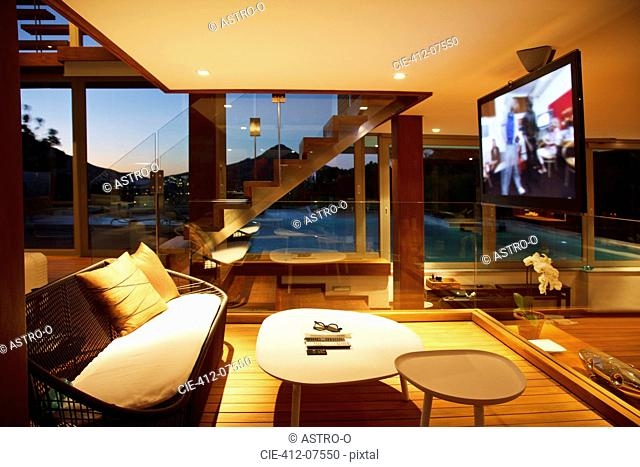 Flat screen TV in modern living room