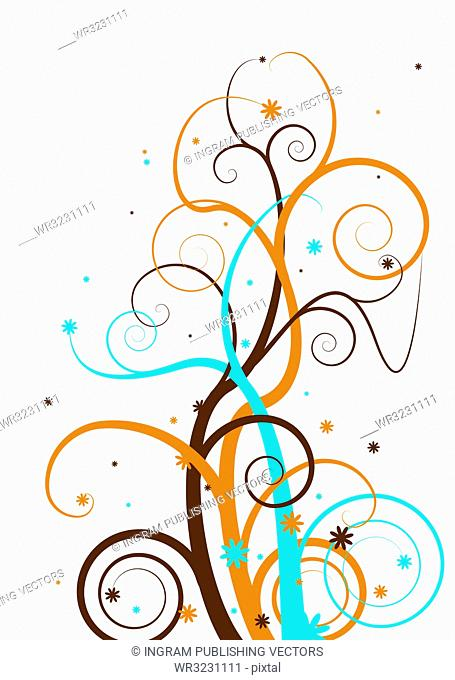Abstract floral tree design with a modern twist in subtle colors
