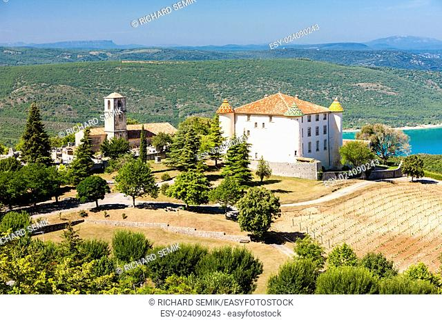 chateau and church in Aiguines and St Croix Lake at background, Var Department, Provence, France