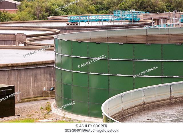 Settling tanks at Daveyhulme wastewater treatment plant, or sewage works in Manchester UK United Utilities Daveyhulme plant process's all of Manchester sewage...