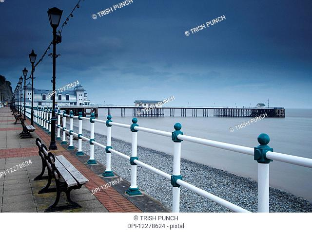 Promenade and pier in Penarth town outside Cardiff in South Wales; Penarth, Wales