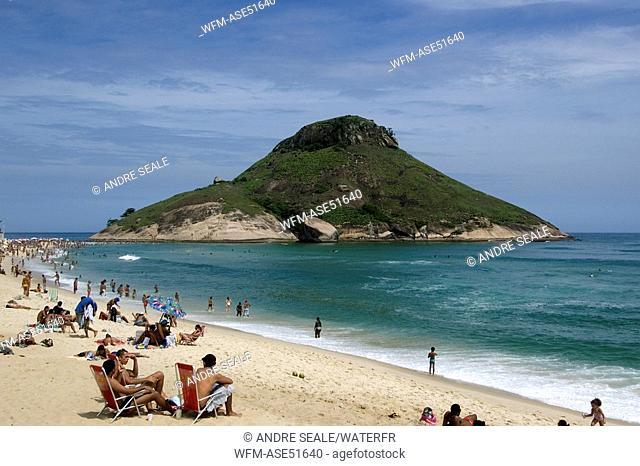 Recreio Beach with Pontal Hill, Rio de Janeiro, Brazil