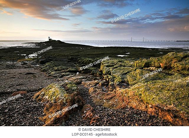 Wales, Monmouthshire, Chepstow, Lighthouse at Beachley Point in the river Severn Estuary. In Arthurian legend, Beachley is considered to be Aber Gwy The Mouth...