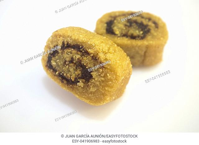 Makroudh, special Maghrebi sweet pastry. Isolated over white background