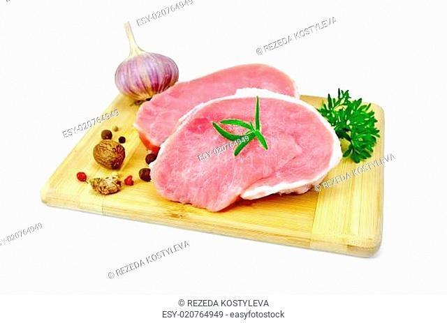 Meat pork slices with parsley and garlic
