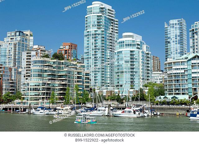 Aqua Buses False Creek Vancouver Skyline British Columbia Canada