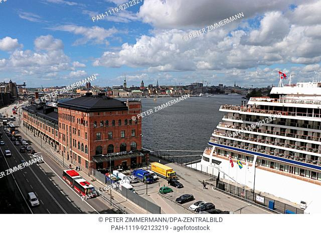 View of a part of the harbour and the Old Town in the Swedish capital of Stockholm. The landscape of Stockholm has changed drastically throughout its history...