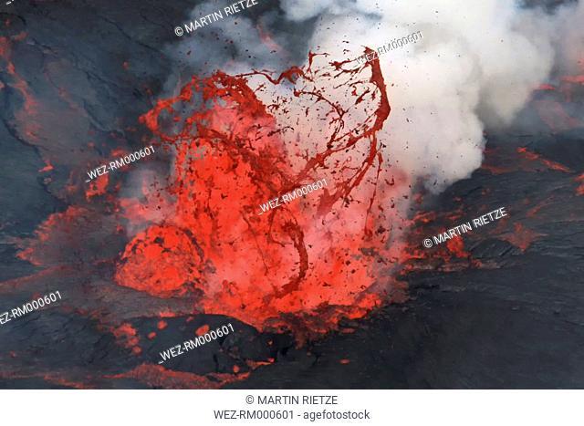 Africa, Congo, View of lava erupting from Nyiragongo Volcano