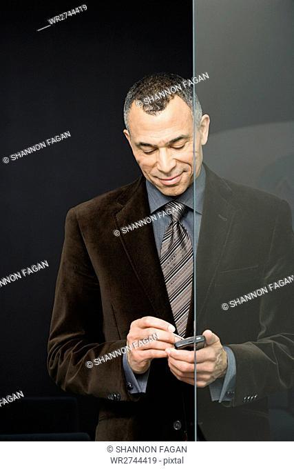 Businessman with handheld computer