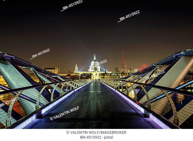 Illuminated Millennium Bridge and St. Paul's Cathedral, night shot, London, England, United Kingdom
