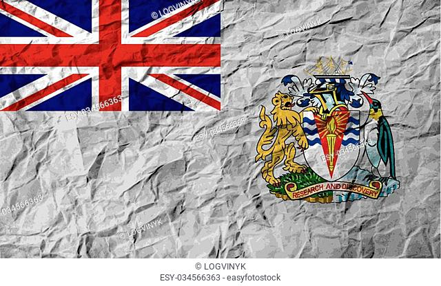 Flag of British Antarctic Territory with old texture. Vector illustration