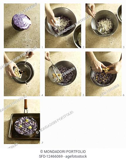 How to make Okonomiyaki with cabbage and cashew nuts (Japan)
