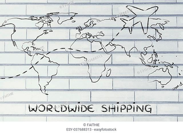 plane air route and world map, worldwide shipping