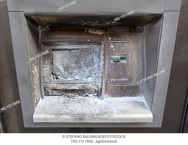 vandalized atm cash machine in Rome,Italy