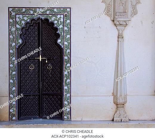 Beautiful mosiac workand doorway at City Palace, Udaipur, Rajastan, India