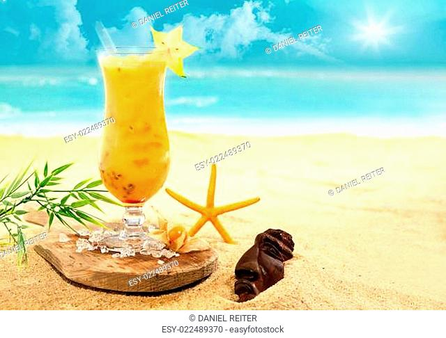 Colourful carambola and orange cocktail