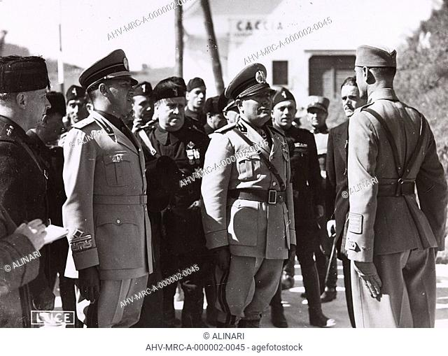Benito Mussolini, and Galeazzo Ciano hear a commander of the troops of the Yugoslav border, shot 1937