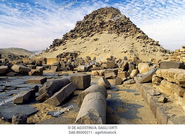 Temple and pyramid of Niuserra, Abusir Necropolis, Egypt. Egyptian civilisation, Old Kingdom, Dynasty V