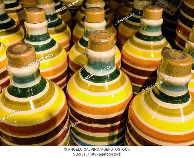 Extra Vergine Olive Oil canned in ceramic bottle at Eataly Market, Rome, Italy, Europe