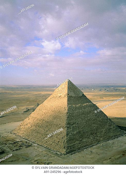 Elevated view of the Chephren Pyramid. View from top of Cheops pyramid