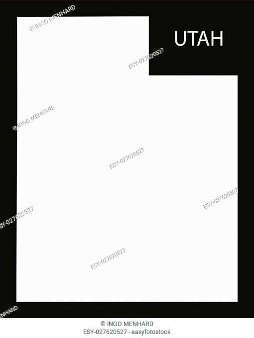 Utah USA Map black inverted silhouette